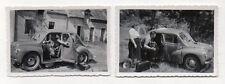 PHOTO Voiture ancienne Auto Automobile Peugeot 203 Snapshot Lot 2 photos Couple