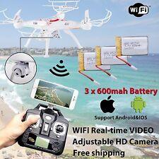 3 Battery WIFI Camera Drone FPV 2.4Ghz 4CH 6-Axis RC Quadcopter HD RTF Explorer