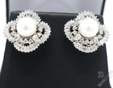 White Pearl Earrings Women Anniversary Jewelry Gift 14K White Gold Plated