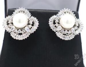 White Pearl Diamond Halo Earrings Women Jewelry Gift 14K White Gold Plated