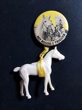 """Vintage ROY ROGERS & TRIGGER 1-3/4"""" PIN / BUTTON w/ plastic horse"""