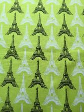 RPE619 Neon Lime Retro Eiffel Tower Paris French Style Cotton Quilting Fabric