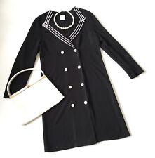 Vtg 50s Black MIDI SECRETARY DRESS 14 pencil button double breasted nautical