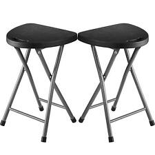 Zimmer Folding Stool (Set of 2) Portable Plastic Chair with Steel Frame Legs