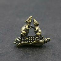 Chinese Brass Mouse Statue Lucky Pendant Corn China Zodiac Xmas Pocket Gifts Hot