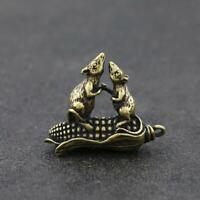 Chinese Brass Mouse Statue Lucky Pendant Corn China Zodiac Xmas Pocket Gifts Hot