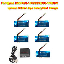 5pcs Syma X5C-1 X5C X5SW RC Drone 3.7V 800mAh Lipo Batterie + 5en1 Chargeur Kit