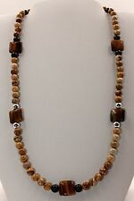 Handmade Tiger Eye, Picture Jasper & Sterling Silver Beaded Necklace 20 Inches