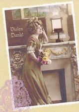 """Ansichtskarte: Nostalgie: elegante Dame sagt """"Vielen Dank"""" - Vintage Card: Lady"""