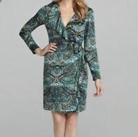Antonio Melani Size 0 Wrap Dress Teal Green Ruffled Lined Long Sleeve