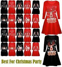 Womens Ladies Christmas Xmas Elf Santa's Little Helper Belt Costume Swing Dress