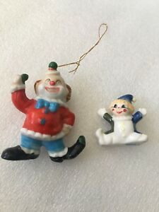 2 Vintage Porcelain Clowns 1 Bug House Taiwan & 1 ornament birthday collect mini