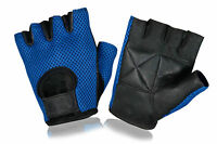 Leather Bus Driving Gloves Finger Less Cycling Gym Wheelchair Training Mesh Back