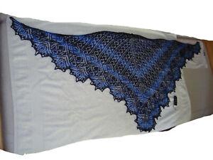 Lacetuch Schultertuch Stola Shawl Schal handgestrickt Zauberball blau 1,80 x 0,7