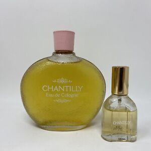Vintage Chantilly Houbigant NY Perfume Splash Lot Of 2 7.75 Oz .5 Oz Bottles