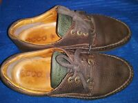Ecco Men's Leather Oxford Casual Walking Shoes Lace Up Brown EU41- US 10/10.5