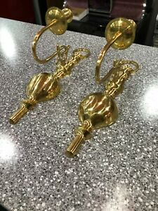 """PAIR OF BRASS WALL MOUNTED SCONCE CANDLE HOLDERS 12"""" KOREA 1993"""