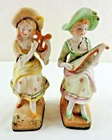 Vintage Halsey Woman Porcelain Figurines Set of 2 w/ Mandolin & Harp Instruments