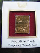 GREAT PLAINS PRAIRIE PRONGHORN CANADA GOOSE replica Gold Golden Cover Stamp FDC