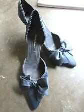 Beverly Feldman Navy Blue Satin-Blue Bow D' Orsay Pointed Toe 9.5M Nice Heels