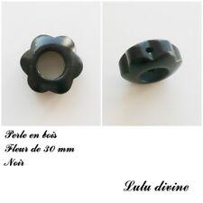 Anneau en bois Fleur 30 mm avec trous, pour hochet bébé : Noir