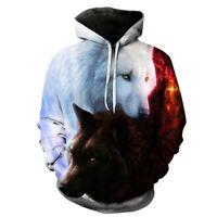 Loup FEMME HOMMES 3D ANIMAL imprimé Sweat-shirt à capuche Pull-over haut NF
