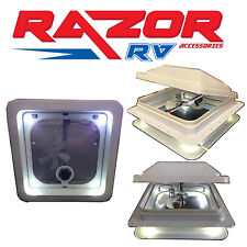 "Caravan Roof Hatch with LED Lights & Fan (two switches) (355x355mm)""14"" Cut Out"