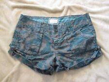 American Eagle Women's Tan Turquoise Leaf Pattern Short Shorts Size 4