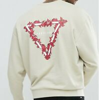 Mans Oversized Sweatshirt ASOS Beige Nude Jumper Rose Triangle Back Print UK M