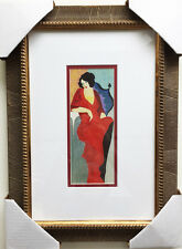 """TARKAY """"Lady in Red"""" Newly Custom FRAMED OUT OF PRINT LITHOGRAPH Israeli ART"""