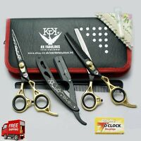 Professional Hairdressing Scissors Barber Haircutting Shears Set Gold/Black 6''