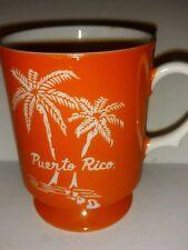 Vintage Puerto Rico Travel Souvenir Collectible Coffee Mug - Orange