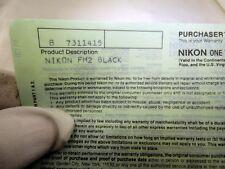 Nikon vintage warranty card (expired) for FM2 Black camera  EN