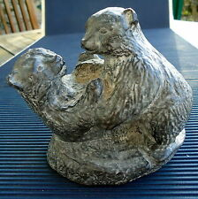 Sculpture Oursons Pierre Reliefs Signé Wolf Canada Fait Main 13 x11x8 Cm 570 Grs