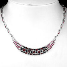 PRECIOUS! NATURAL ROUND RICH RED RUBY-BLUE SAPPHIRE STERLING 925 SILVER NECKLACE