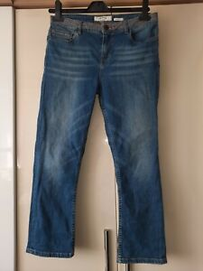 Fat Face ladies blue mid rise capri cropped slim jeans with stretch size 10