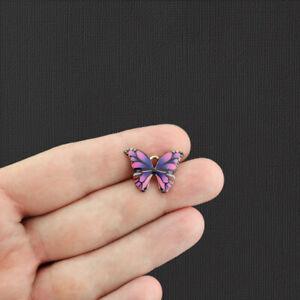 5 Purple Butterfly Gold Tone Enamel Charms - E1079