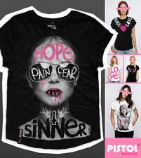 Pistol Boutique Women's Black casual crew neck SINNER SUNGLASSES GIRL T-shirt