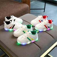 Kids Children Baby Striped Shoes LED Light Up Luminous Sport Sneakers