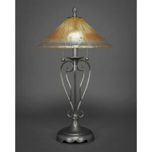 Toltec Lighting Olde Iron Table Lamp, 16' Amber Crystal Glass - 42-BN-710