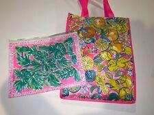 NEW Reusable Bag Shopping Tote Shopper Citrus Pattern & Plastic Bag w/Zipper