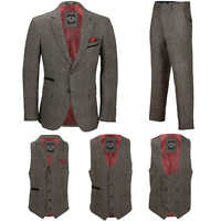Men Vintage 3 Piece Grey Tweed Check Suit Blazer Waistcoat Trouser Sold Separate