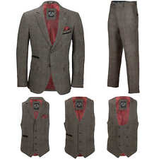 Men Vintage 3 Piece Grey Tweed Check Suit Blazer Waistcoat Trouser Sold Separate