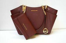Michael Kors Jet Set Travel Large Chain Shoulder Leather Tote Bag Merlot