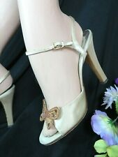 Vintage 70s Neiman Marcus Italy Satin strappy High Heels beaded Butterflies 8.5