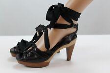 Derek Lam Women's Shoes 8 / 38 Black Wood High Heels Ankle Strap Open Toe
