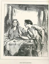 """Gavarni, Paul - """"Les Partageuses"""" aus """"Masques et Visages"""" Litho 1853"""