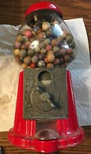 Vintage Gumball Machine Carousel Red Coin Bank W/ Clay And Glass Marbles