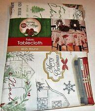 "CHRISTMAS Fabric Table Cloth FARM FRESH CHRISTMAS TREES  60"" ROUND Seats 4"