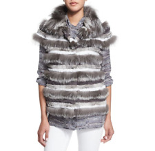 NWT $1695 Tory Burch FOX FUR STRIPED VEST Size XS